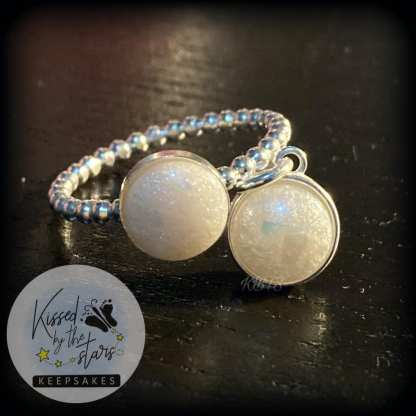 bubble band ring and necklace blue opalescent flakes