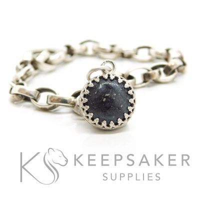 black ashes dangle charm shown on Thomas Sabo bracelet (not inlcluded), 12mm crown point charm setting