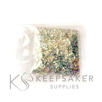 holographic silver flakes, mylar iridescent shards for making keepsake, memorial and breastmilk jewellery