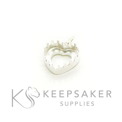 10mm cast heart setting open backed in solid silver, with loop and jump ring