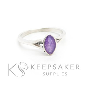 Cremation ashes Hannah marquise ring, orchid purple resin sparkles. Solid silver hand finished marquise setting with split shank