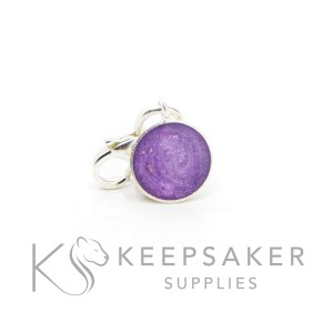 Cremation ashes little 8mm bezel cup, orchid purple resin sparkles. Solid silver tiny dangle charm with lobster clasp.