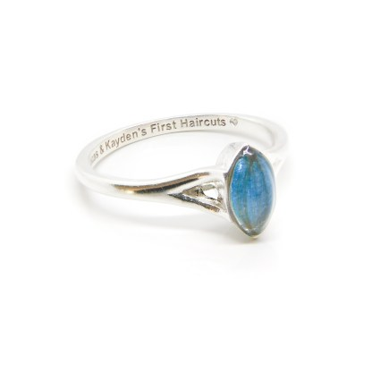 Lock of hair engraved Hannah marquise ring, engraved inside in Arial font with heart emojis. Aegean blue resin sparkles. Solid silver hand finished marquise setting with split shank