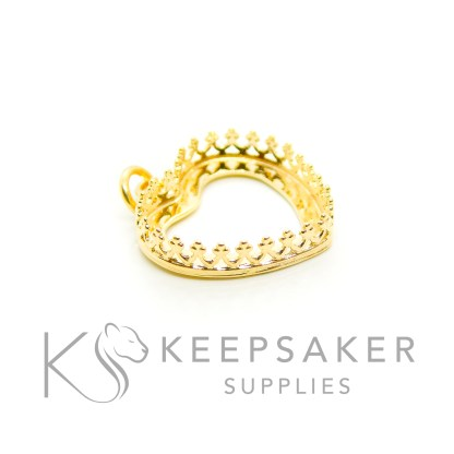 solid silver plated with gold 3 microns thick, gold vermeil heart necklace setting with crown points and jump ring