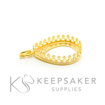 solid silver plated with gold 3 microns thick, gold vermeil teardrop necklace setting with crown points and jump ring