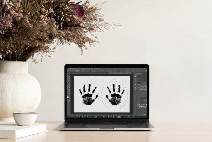 handprints mockup 2D inkless wipe kit