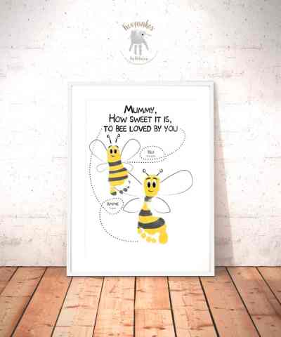 Personalised Family Quote | Footprint Art | Bee Print