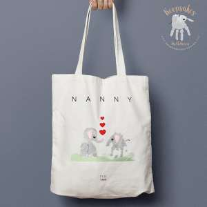 Elephant Handprint Personalised Tote Bag