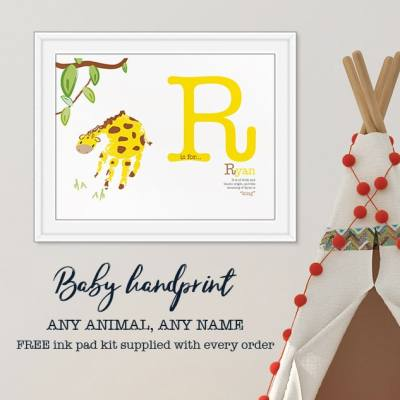 Personalised-name-definition-giraffe-handprint-art