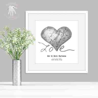Personalised wedding gift map art