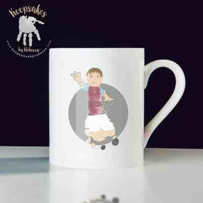 personalised football mug for dad- Aston Villa footprint art