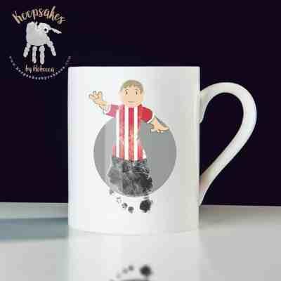 Stoke City personalised mug for dad- footprint art