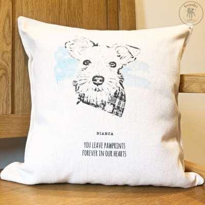 Dog portrait memorial cushion