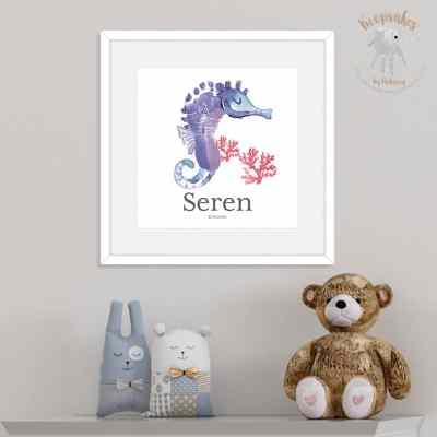Seahorse footprint | footprint Art | Nursery Art | Personalised Nursery Print | Baby Footprint Art