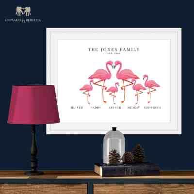 personalised family print | flamingo | family print