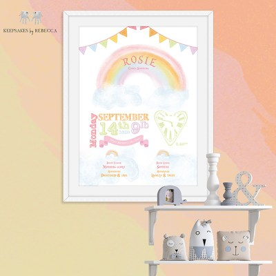 Birth details rainbow   Rainbow personalised print   Personalised Rainbow   New baby gift
