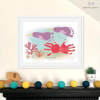 baby footprint art, Narwhal personalised baby print