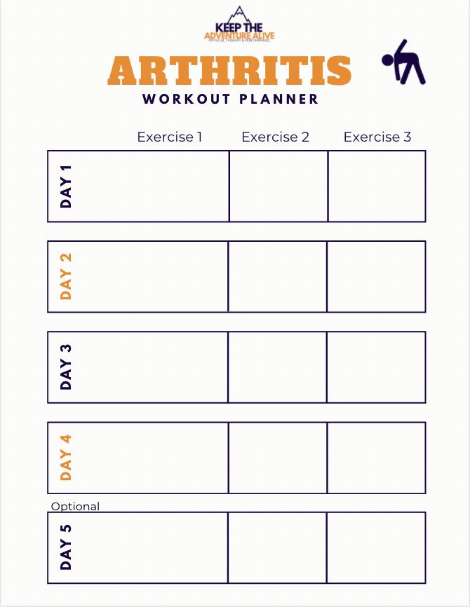 Arthritis workout planner calendar