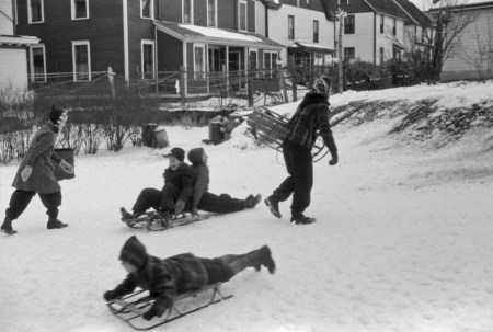 Jack Delano - Children sledding in Jewett City, Connecticut, 1940