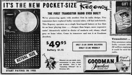 Newspaper_Advertising_For_The_Regency_TR-1_Transistor_Radio,_The_San_Bernardino_County_Sun,_December_19,_1954_(14650638539)
