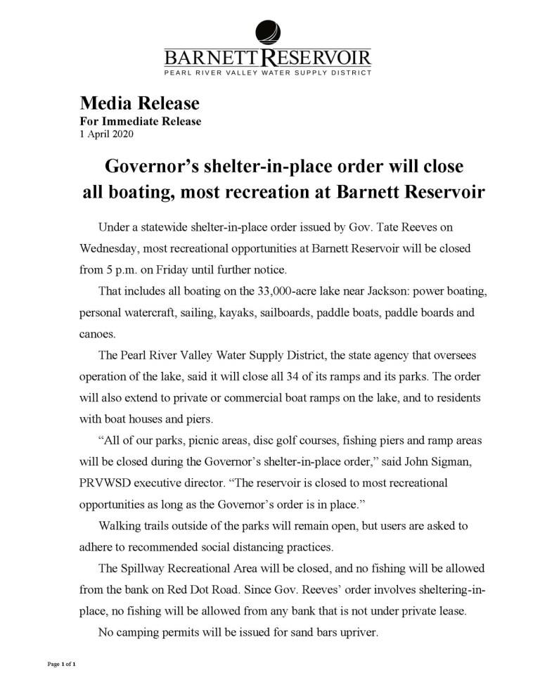 Governor's shelter-in-place at Barnett Reservoir