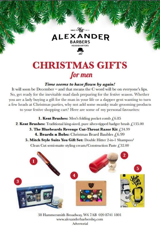Alexander Barbers Headquarters Hammersmith Christmas Gifts