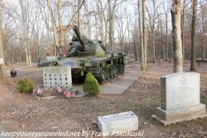 WW II tank and memorials at park