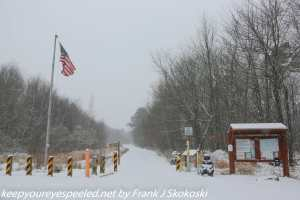 snow covered entrance to Rails to trails