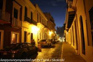 narrow street at night San Juan