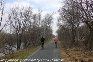 bikers on D & L Trail along Lehigh River