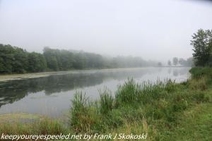 mist covered lake