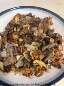 wild mushrooms sauted with onions in olive oil