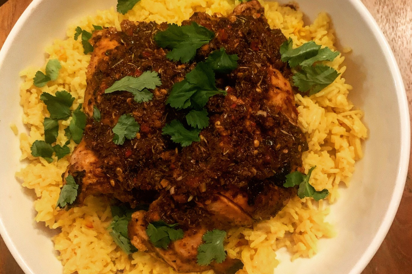 Chicken With Adobo and Saffron Rice