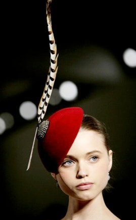 philip treacy red fascinator