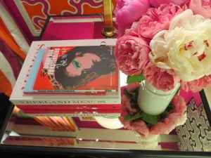 Colorful Books and Bright Summer Peonies