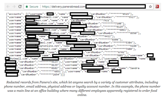 Redacted records from Panera's site, which let anyone search by a variety of customer attributes, including phone number, email address, physical address or loyalty account number. In this example, the phone number was a main line at an office building where many different employees apparently registered to order food online.
