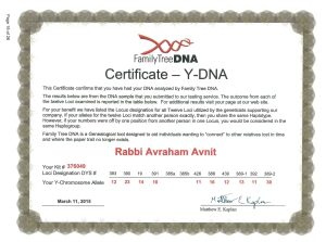 "Certificate of Kohen gene from ""family tree DNA"" - courtesy of Rabbi Avrohom HaKohen Avnit of Columbus Ohio"