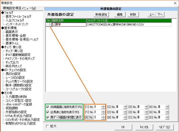 TARGET外部指数の設定画面の設定後