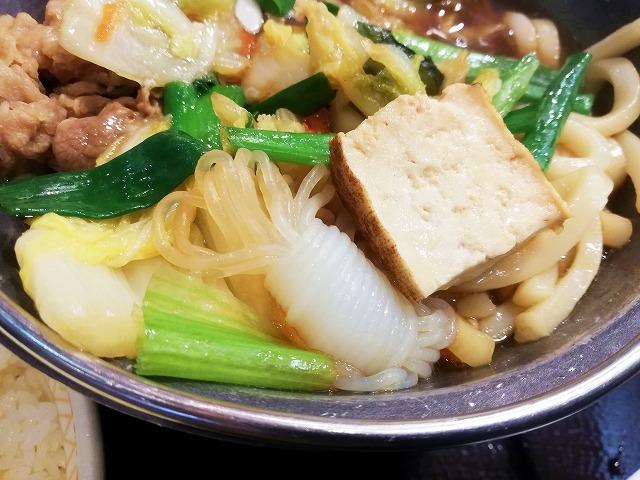 牛すき鍋定食の野菜