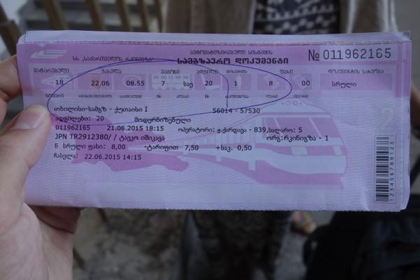 電車のチケット。乗り合いバスより2ラリ安い。