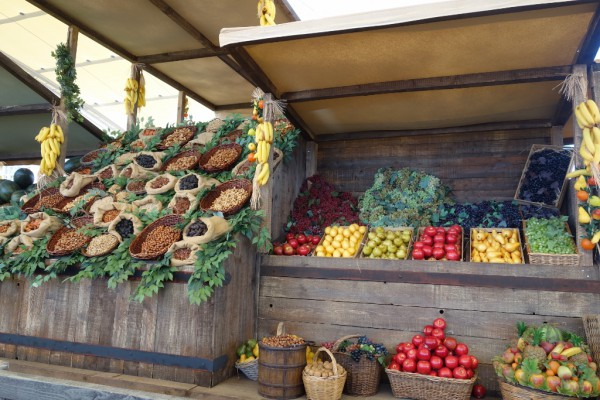 EXPOでの野菜の展示。これだけでわくわくしちゃいます。