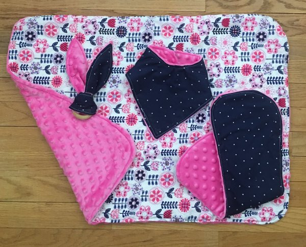 Hot Pink and Navy Polka Dot