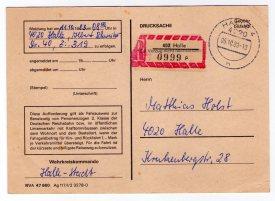 """Aufforderung zur """"Aussprache"""" durch das Wehrkreiskommando Halle-Stadt"""