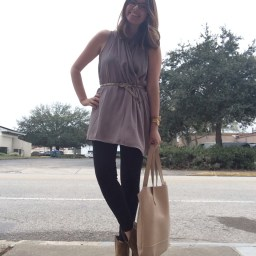 Thursday: INC tunic and leggings, NY&Co snakeskin belt, Michael Antonio booties, Lauren Merkin bag.