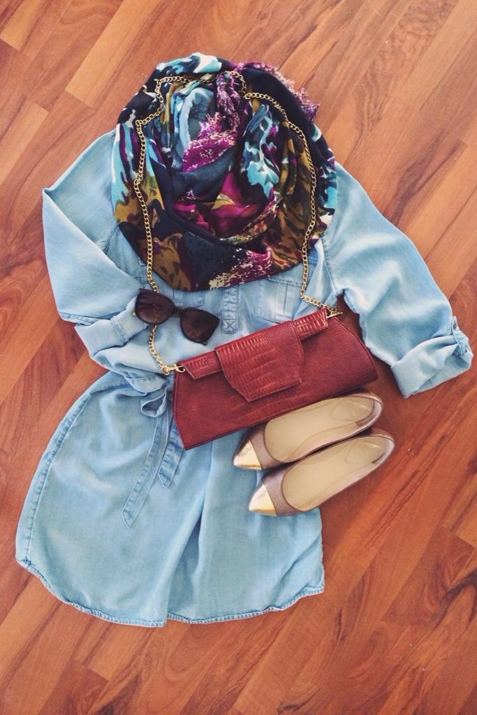 A Pretty Penny | Chambray Shirt Dress