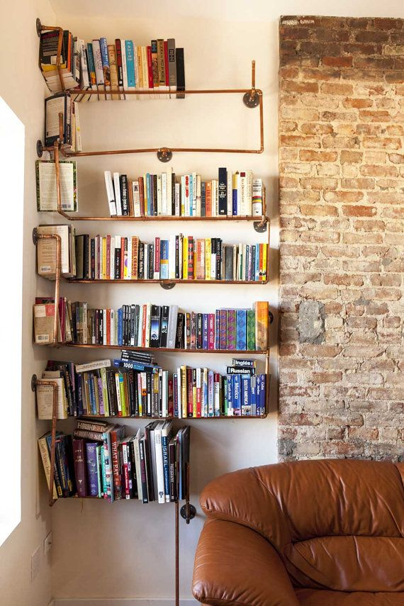 Copper Pipe Bookshelves