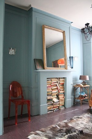 fireplace book storage
