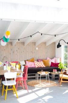 Colorful Patio Space With Painted Concrete