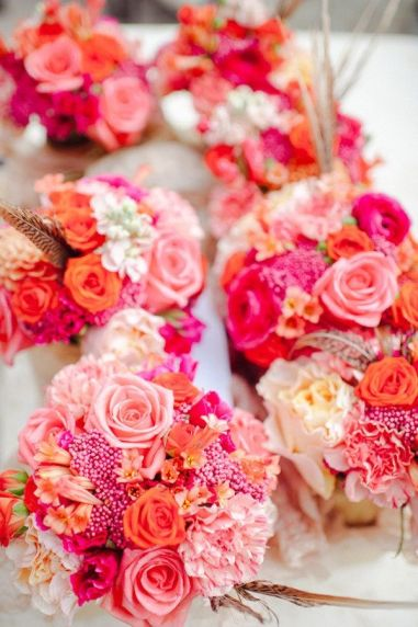 Pink and Coral Bouquets