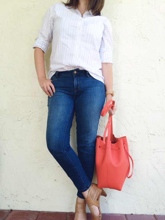 A Pretty Penny Personal Style Blog Boyfriend Shirt and LOFT Curvy Ankle Skinny Jeans
